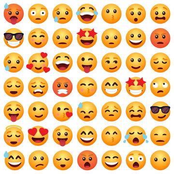 Set of emoticon cartoon emojis smile for social media