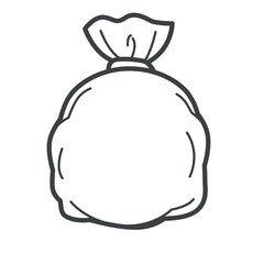 Plastic bag, package with garbage or wastes, isolated icon