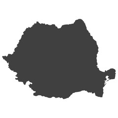 Romania map in black color on a white background