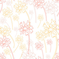Vector seamless pattern with hand drawn african lilies flower shapes. Simple modern floral outlines background.