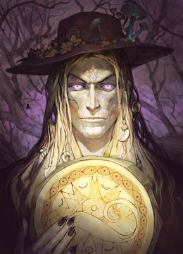 Fantasy portrait illustration of a weird and sinister male shaman with a shiny drum of magic symbols in his hands