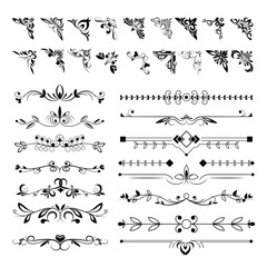 Frame angles or text separation lines, floral pattern elements