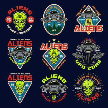 Aliens and ufo set of nine vector colored emblems
