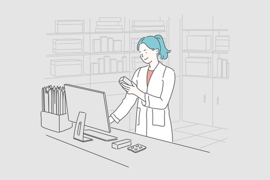 Pharmacy, medicine, healthcare concept. Young happy smiling woman or girl pharmacist selects the necessary pills for the client. Selection of pills and checking the expiration date. Simple flat vector