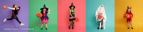 Children in carnival costumes on multicolor background.