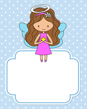 Cute angel with a star in the hands. Space for text