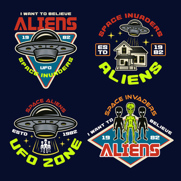 Set of vector aliens and ufo color vector emblems