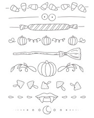 Hand drawn Halloween borders set