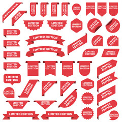 Big set of red stickers limited edition tags, labels and banners
