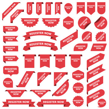 Big set of red stickers register now tags, labels and banners