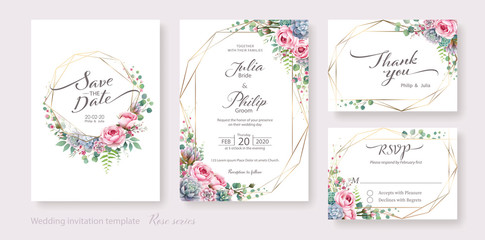 Wedding Invitation card, save the date, thank you, rsvp template. Vector. Succulent and Rose flower, silver dollar plant, olive leaves, Wax flower.