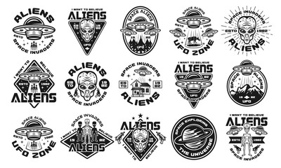 Aliens and ufo set of vector monochrome emblems