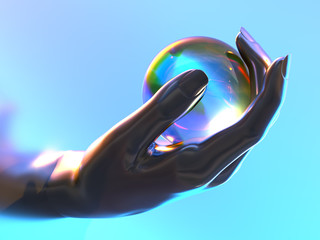artificial hand holds a transparent sphere