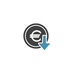 Euro cost decrease icon on a white background. Vector illustration