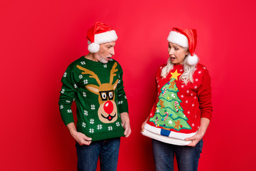 Photo of two astonished excited people grey white haired husband wife showing funny cartoon pictures on reindeer evergreen tree on jumpers isolated bright color background