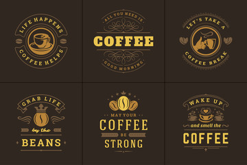 Coffee quotes vintage typographic style inspirational phrases vector illustrations set.