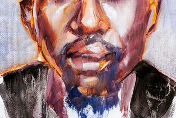 Afro american man portrait in oils