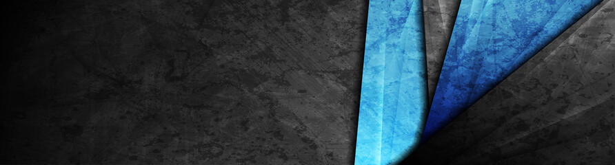 High contrast dark grey and blue stripes. Abstract grunge tech graphic banner design. Old wall concrete texture. Vector corporate background