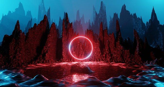 Sci fi alien planet landscape futuristic rock surreal lighting space travel glow ring red neon light 3D rendering