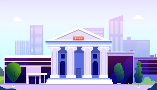 Bank building. Banking investment wealth growth symbols. Bank facade with columns on street government buildings financial vector. Illustration federal bank institution, public structure