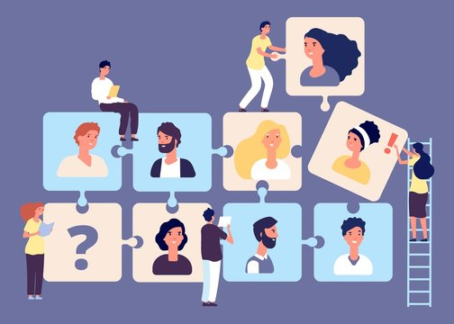 Personnel change concept. Recruiting, job search, human resource, employment agency vector illustration. Puzzle business team with tiny headhunters characters. Business employment team and headhunter