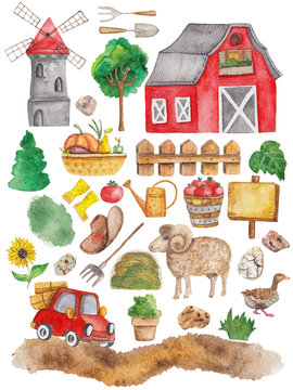 a watercolor large set of a local production farm
