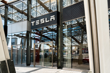 MILAN, ITALY - MAY 31, 2019: Tesla Office Store In Porta Nuova Or New Door, The Main Business District In Milan
