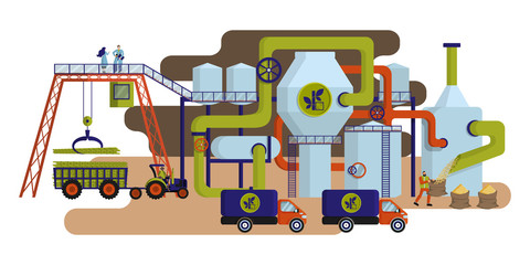 Concept of industrial plant for sugar cane processing and sugar production.