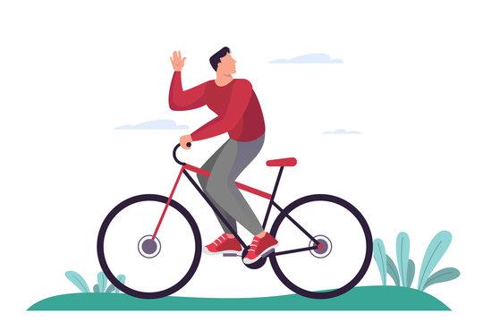 Man riding bike. Healthy lifestyle, bicycle transportation
