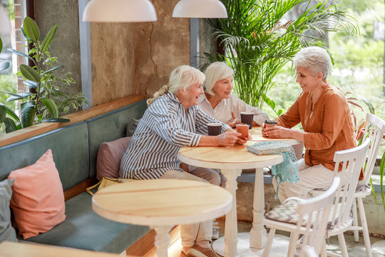 Cheerful senior women spending time at outdoor cafe