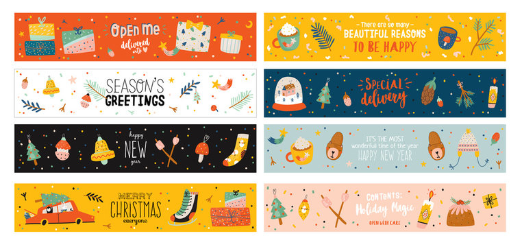 PMerry Christmas or Happy New 2020 Year illustration with holiday lettering and traditional winter elements. Cute paper label, banner, tags or stickers template in scandinavian style. Vector backgroun