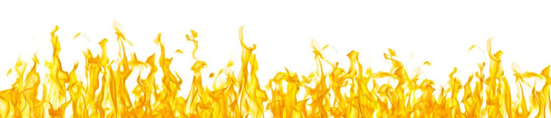 Foto op Canvas Vuur long stripe of orange sparks on white