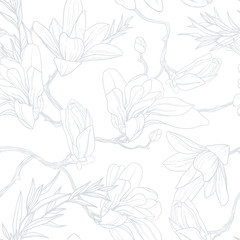 Lite flower background. Soft seamless pattern with magnolia.
