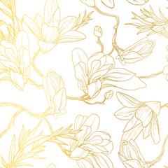 Vintage gold background with seamless floral pattern