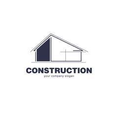 Architect construction logo template. Vector design icon for building company.