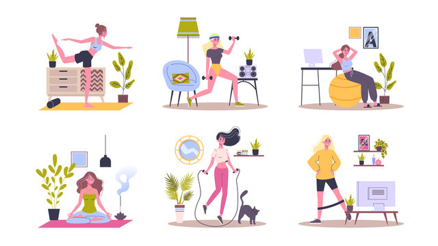 Sport exercise at home set. Woman doing workout indoor
