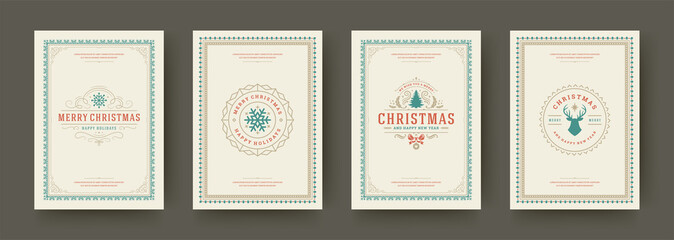 Fototapeten Retro Christmas cards vintage typographic design ornate decorations symbols with winter holidays wishes vector illustration