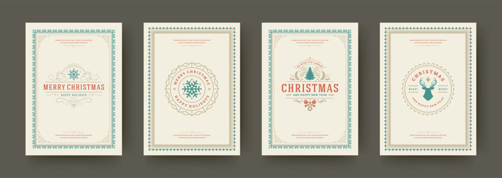 Christmas cards vintage typographic design ornate decorations symbols with winter holidays wishes vector illustration