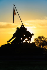 Sunrise Silhouette of the USMC Memorial