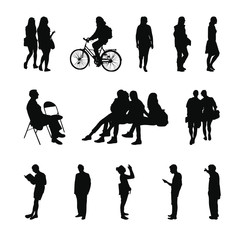 People silhouettes: two walking girls, a man on a bicycle, a man sitting on a chair, girls sitting on a bench, a man reading a book, a girl taking pictures, a man looking at the phone, walking peoples