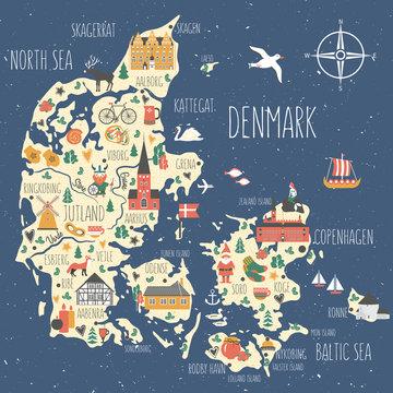 Kingdom of Denmark map vector, Nordic country geographic banner template, landmark Copenhagen City Hall, Museum Of Hans Christian Andersen Odense, Church Bornholm Ronne, illustration scandinavia
