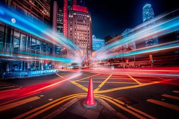 Motion speed effect in modern city street Fotomurales