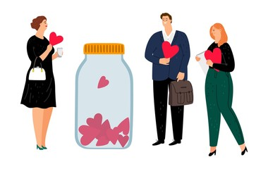 Charity and donations. Volunteers with red hearts. Flat people making donate vector illustration