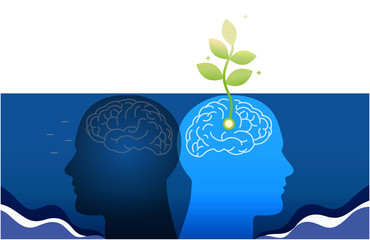 growth mindset skills icon growing plant from the brain
