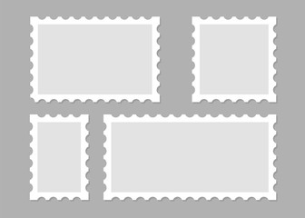 Illustration with blank postage stamps. Isolated vector design. Perforated edge label. Label, sticker vector