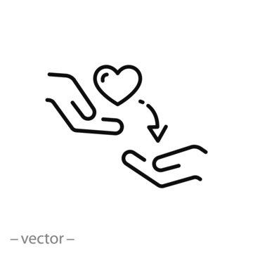 kindness icon, kind concept, random act, thin line web symbol on white background - editable stroke vector illustration eps10