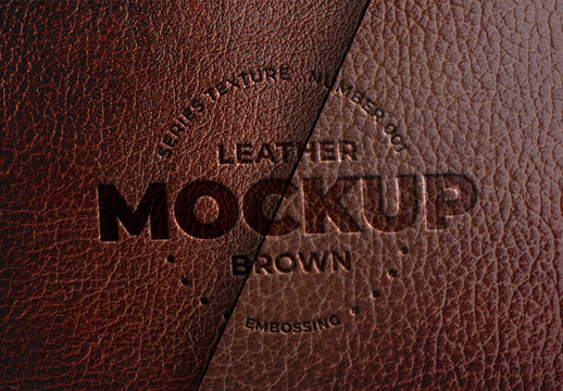 Embossed Brown Leather Mockup