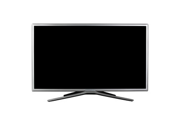 4K monitor or TV with black screen isolated on white background