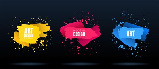 In de dag Vormen Vector modern abstract banners. Flat geometric dynamic color. Modern Art graphics. Element for design business cards, invitations, flyers and brochures. Grunge brush stroke. Paint splash. Web design