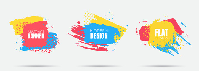 Vector modern abstract banners. Flat geometric dynamic color. Modern Art graphics. Element for design business cards, invitations, flyers and brochures. Grunge brush stroke. Paint splash. Web design